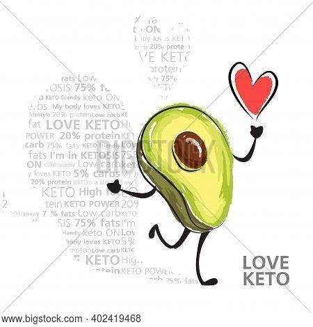 Color Vector Illustration Of Keto Lifestyle. Funny Dancing Avocado Character. Cute Cartoon Character