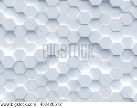 Polygonal Mosaic Surface With Random White Hexagon. Abstract Geometric Background. 3d Rendering Illu