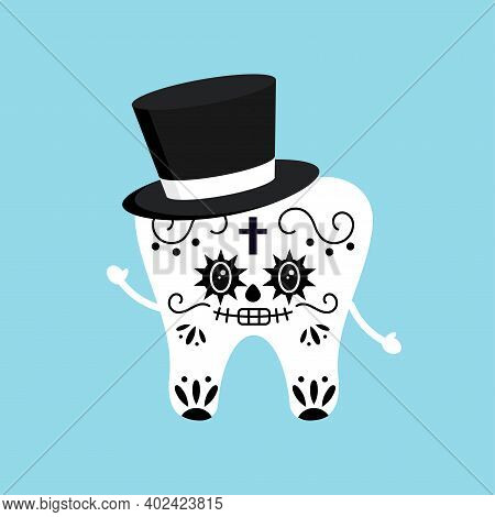 Cute Tooth With Mexican Day Of The Dead Skull Makeup Costume Isolated Vector Icon. Skeleton Carnival
