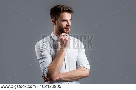 Well Groomed Hairstyle. Male Beauty And Fashion Look. Formal Office Shirt For Bearded Guy. Unshaven