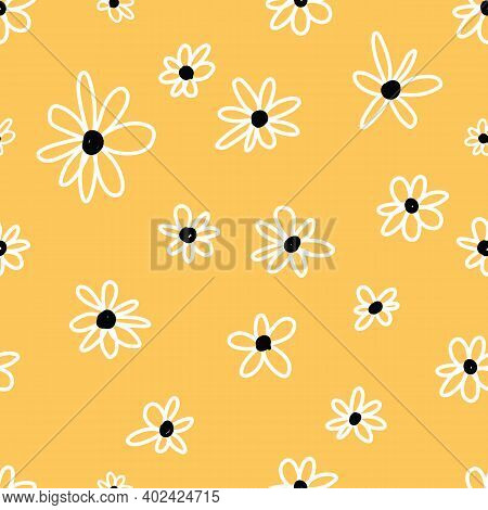 Cute Repeat Daisy Wildflower Pattern With Yellow Background. Seamless Floral Pattern. White Daisy. S