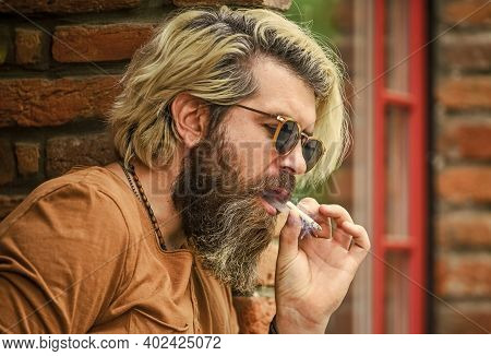 Bearded Guy Casual Style. Bad Habit Concept. Harmful For Your Health. Smoke Nicotine Addicted. He Is