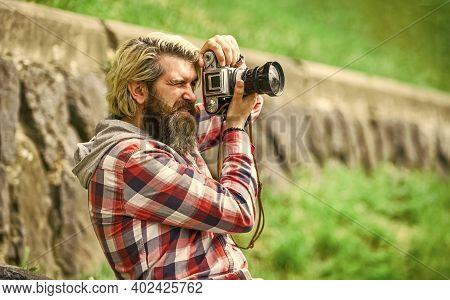 Photographer Concept. Photographer Amateur Photographer Nature Background. Content Creator. Man Bear