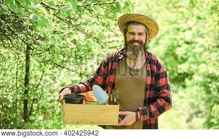 Bearded Farmer In Straw Hat With Wooden Box. Mature Man Gardener Working In Greenhouse. Brutal Male