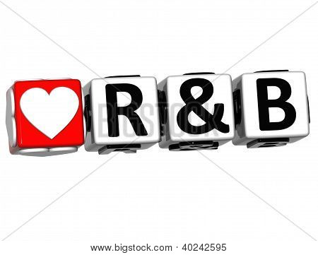 3D Love R&b Button Click Here Block Text