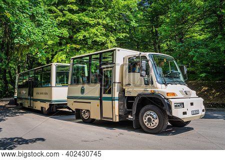 Plitvice Lakes, Croatia, June 2019 Unusual Vehicle, A Train Like Bus Mercedes Unimog Used For Touris