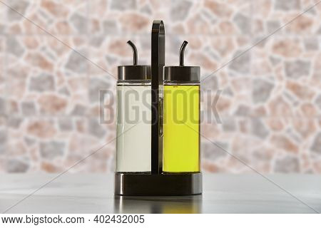 Two Glass Cruet With A Spout Dispenser For Pourer Cooking Oil Or Vinegar.
