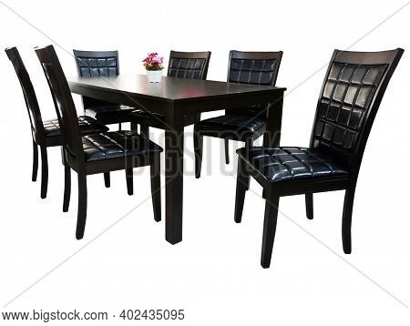 Dining Table And Chairs Isolated On White Background. Luxury And Modern Dining Table Sets In Differe