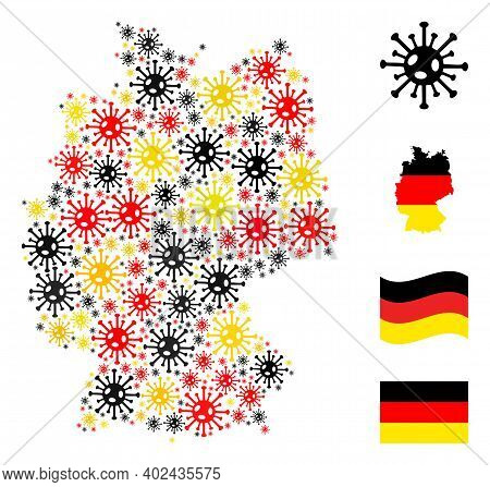 German Map Mosaic In German Flag Official Colors - Red, Yellow, Black. Vector Coronavirus Design Ele