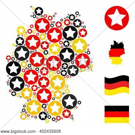 Germany State Map Mosaic In Germany Flag Official Colors - Red, Yellow, Black. Vector Rounded Star D