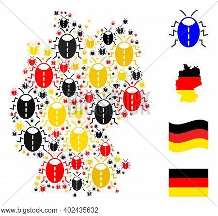 Germany State Map Mosaic In Germany Flag Official Colors - Red, Yellow, Black. Vector Bug Icons Are