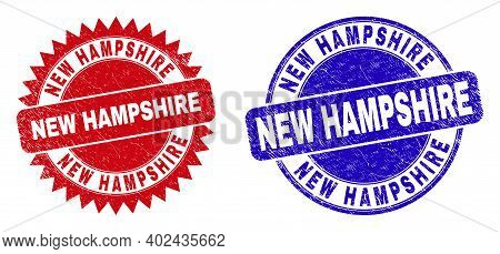 Round And Rosette New Hampshire Watermarks. Flat Vector Grunge Watermarks With New Hampshire Message