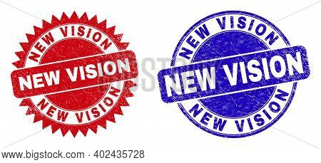 Round And Rosette New Vision Stamps. Flat Vector Distress Watermarks With New Vision Message Inside