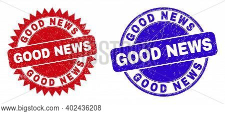 Round And Rosette Good News Seal Stamps. Flat Vector Distress Stamps With Good News Slogan Inside Ro