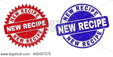 Rounded And Rosette New Recipe Seal Stamps. Flat Vector Scratched Seal Stamps With New Recipe Messag