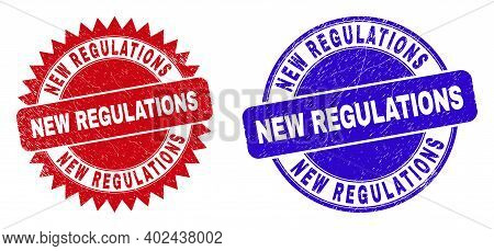 Round And Rosette New Regulations Seals. Flat Vector Scratched Seals With New Regulations Text Insid