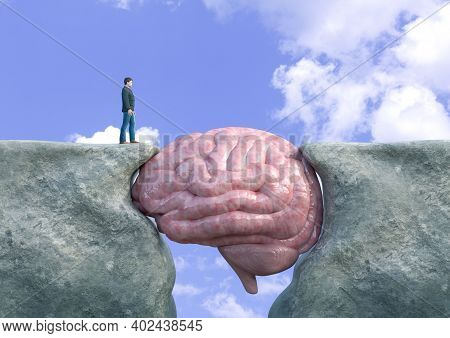 Man Crossing Cliff With Brain. Concept Of Victory Over Mental Block, Cognitive Impairment, Creativit