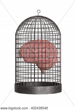 Brain Trapped In The Cage Isolated On White Background. Cognitive Impairment Concept. 3d Rendering