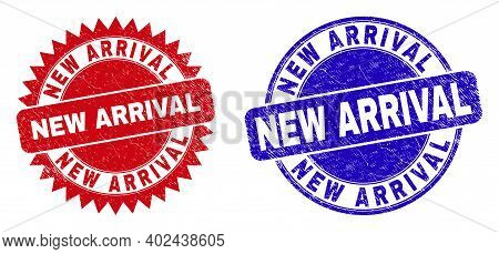 Round And Rosette New Arrival Watermarks. Flat Vector Textured Watermarks With New Arrival Caption I