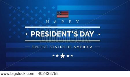 Happy President's Day Dark Blue Background With The Us Flag - Vector Illustration