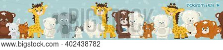 Set Of Cute Cartoon Giraffe, Elephant, Rabbit, Bear, Grizzly, Polar Bear, Cats, Dogs, Elephant. Seam