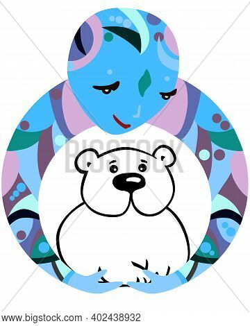 White Bear Protector Illustration. Vector Emblem Of Human Representing Humanity Who Protect The Enda