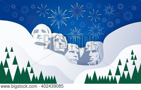 Presidents and fireworks over Mount Rushmore sculpture USA background - vector illustration for Presidents Day, 4th of July, Independence Day