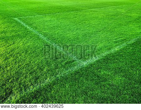 Green Artificial Grass Turf Stadium With White Line, Sport Summer Background
