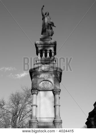 Cemetery In Brooklyn - Statue On Top Of Tombstone - Black/White