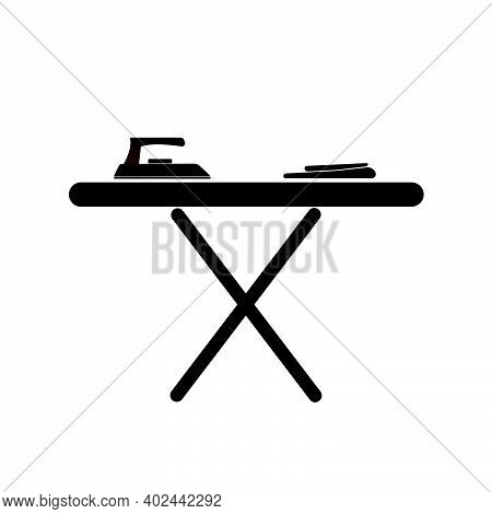 Black Electric Iron And Ironing Board Icon Isolated On White Background, Ironing Board Icon Trendy A