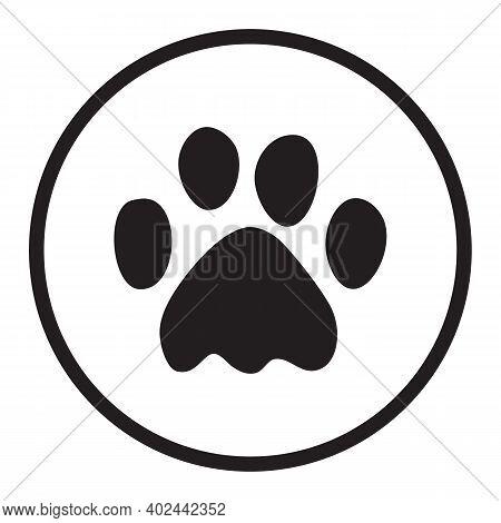 Paw Print Icon On White Background. Flat Style. Dog, Cat, Beer Paw Symbol. Black Animal Paw Print Si