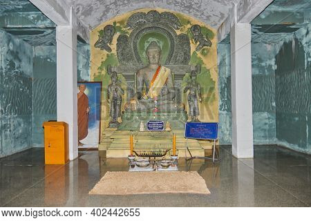 Phayao, Thailand - Dec 6, 2020: Front Stone Buddha Statue In Stone Sanctuary Or Chapel At Wat Analay