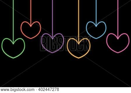 Set Of Colorful Hearts. Neon Glow. Colored Vector Illustration. Isolated Black Background. Valentine