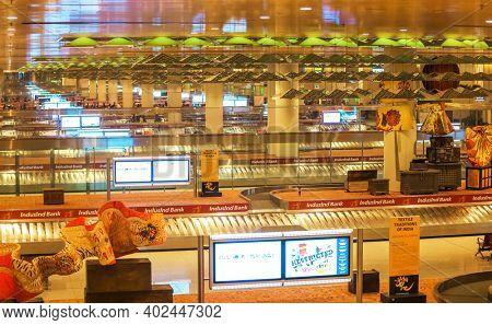 MUMBAI INDIA - Dec 23 2018, International baggage claim floor at Chatrapati Shivaji International Airport. Terminal 2.
