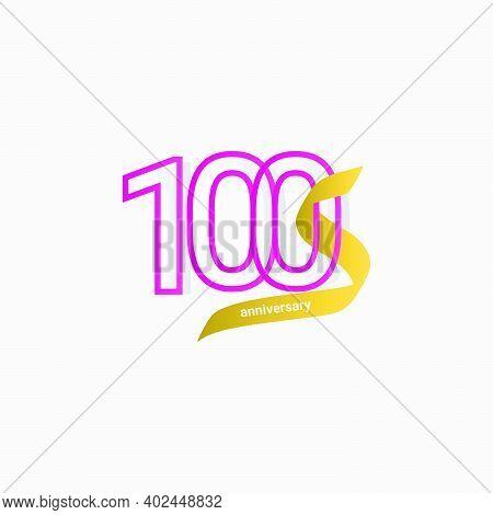 100 Years Anniversary Celebration Gold Ribbon Vector Template Design Illustration