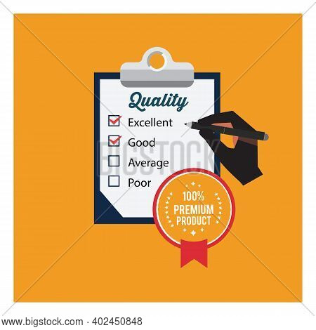 Quality Control Result Check On Paper Form With Clipboard. Outline Business Audit Report Document Wi