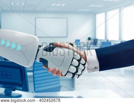 Robot Finger, Robo Advisor, Big Data, Robotic Future Technology And Business Concept. Robot And Cybo