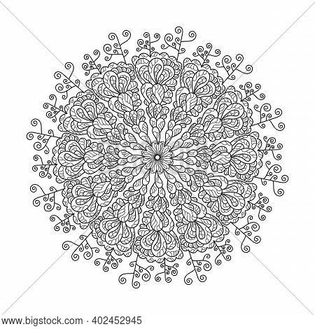 Coloring Book, Mandala, Abstract Pattern . For Adults And Older Children. Ornate Hand-drawn Vector I
