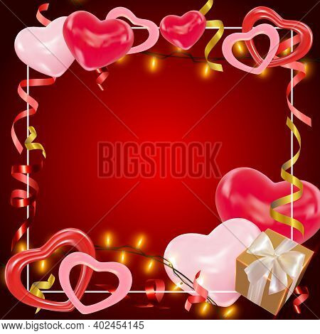 Valentines Day Dark Red Background With Pink And Red Hearts, Shining Garlands, Gifts Box, Tinsel. Cu