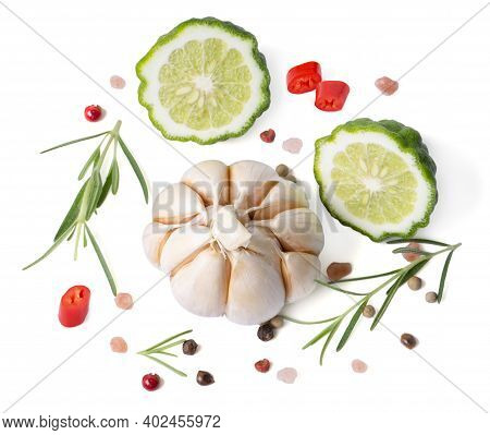 Isolated Herb And Spices. Bergamot, Garlic, Rosemary Spices, Pepper, Onion, Thyme. Vegan Diet Food,