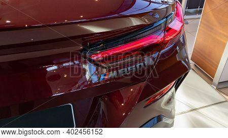 Bordeaux , Aquitaine  France - 01 05 2021 : Bmw M850i Car Sport 850 M Gran Coupe Rear Logo And Sign