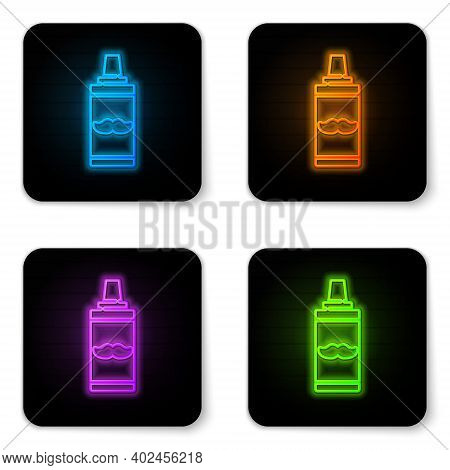 Glowing Neon Shaving Gel Foam Icon Isolated On White Background. Shaving Cream. Black Square Button.