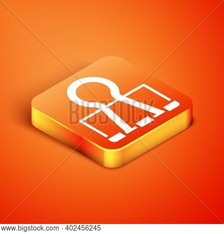 Isometric Binder Clip Icon Isolated On Orange Background. Paper Clip. Vector