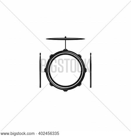 Vector Logo Of Rock School Or Rock Band. Snare Drum With Drumsticks And Cymbals. Rock Music Label. V