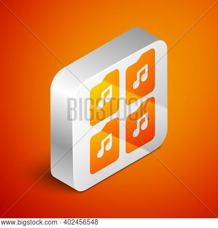 Isometric Music File Document Icon Isolated On Orange Background. Waveform Audio File Format For Dig