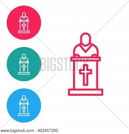 Red Line Church Pastor Preaching Icon Isolated On White Background. Set Icons In Circle Buttons. Vec