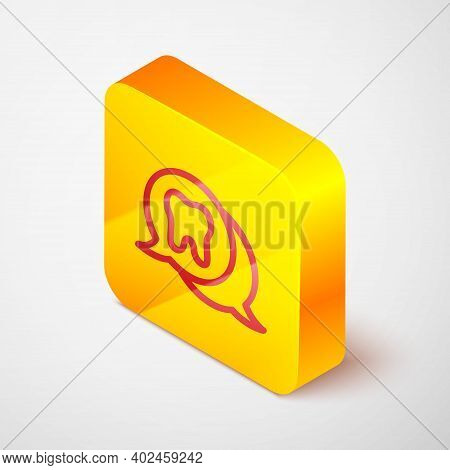Isometric Line Tooth Icon Isolated On Grey Background. Tooth Symbol For Dentistry Clinic Or Dentist