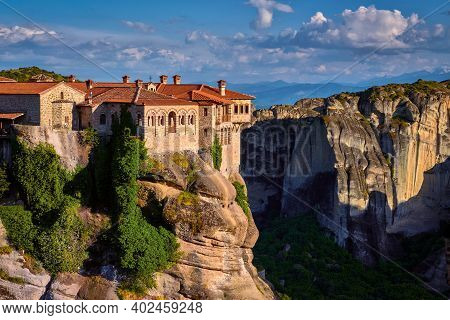 Close View Of Cliff Top Varlaam Monastery, Evening Sunlight In Meteora, Greece, Typical Landscape Of