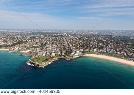 Aerial View Of The Famous Bondi Beach - One Of The Most Famous Beaches Located A Short Drive From Th