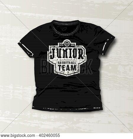 Basketball Junior Team Emblem. Graphic Design For T-shirt. White Print On Black Wear